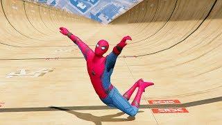 GTA 5 Spiderman Funny Ragdolls BIG RAMPS ep.5 (Euphoria physics | Funny Moments)