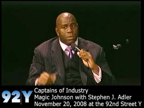 0 Magic Johnson with Stephen J. Adler at the 92nd Street Y