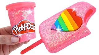 DIY How to Make Play Doh Sparkle Heart Popsicle Modelling Clay Learn Colors RainbowLearning