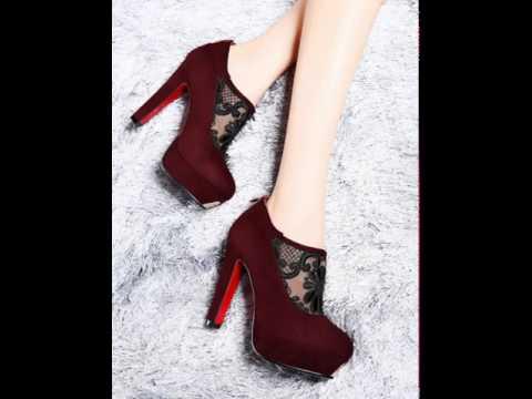Rachel silk yarn round chunky heels women's shoes.avi