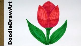 Drawing: How To Draw Cartoon Tulip Flower - Easy Drawing Lesson for Kids