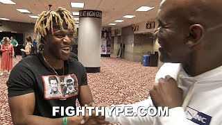 "KSI MEETS EVANDER HOLYFIELD; ""REAL DEAL"" ENCOUNTER FOR YOUTUBE SENSATION AS THEY EMBRACE"