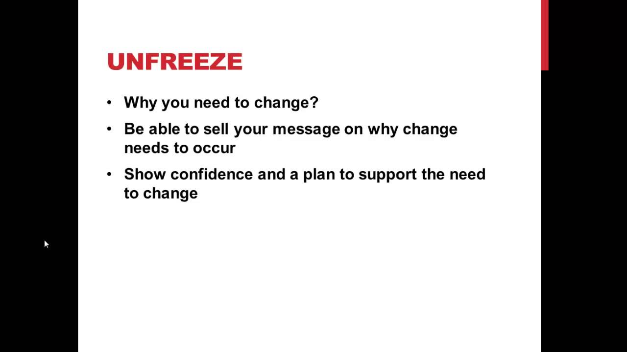 freezing unfreezing and refreezing in an organization Organizational change models and the five stages of grief  freeze, transition  or change, freeze or refreeze  make it amenable to change (unfreeze.
