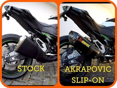 Kawasaki Z800 AKRAPOVIC SLIP-ON VS STOCK EXHAUST