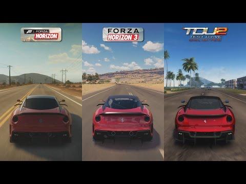 Forza Horizon vs Forza Horizon 3 vs TDU 2 - Ferrari 599XX Sound Comparison