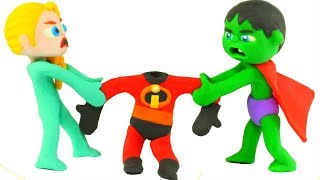 FUNNY KIDS AND THE INCREDIBLES COSTUMES ❤  Play Doh Cartoons For Kids