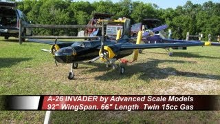 ASM A-26 Invader - Twin 15cc RC 92in WingSpan - Maiden Flight-CRASH -- 5-5-2012