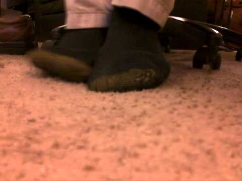 Brown Slip On Dress Shoes, Black Gold Toe Socks, Bare Feet video