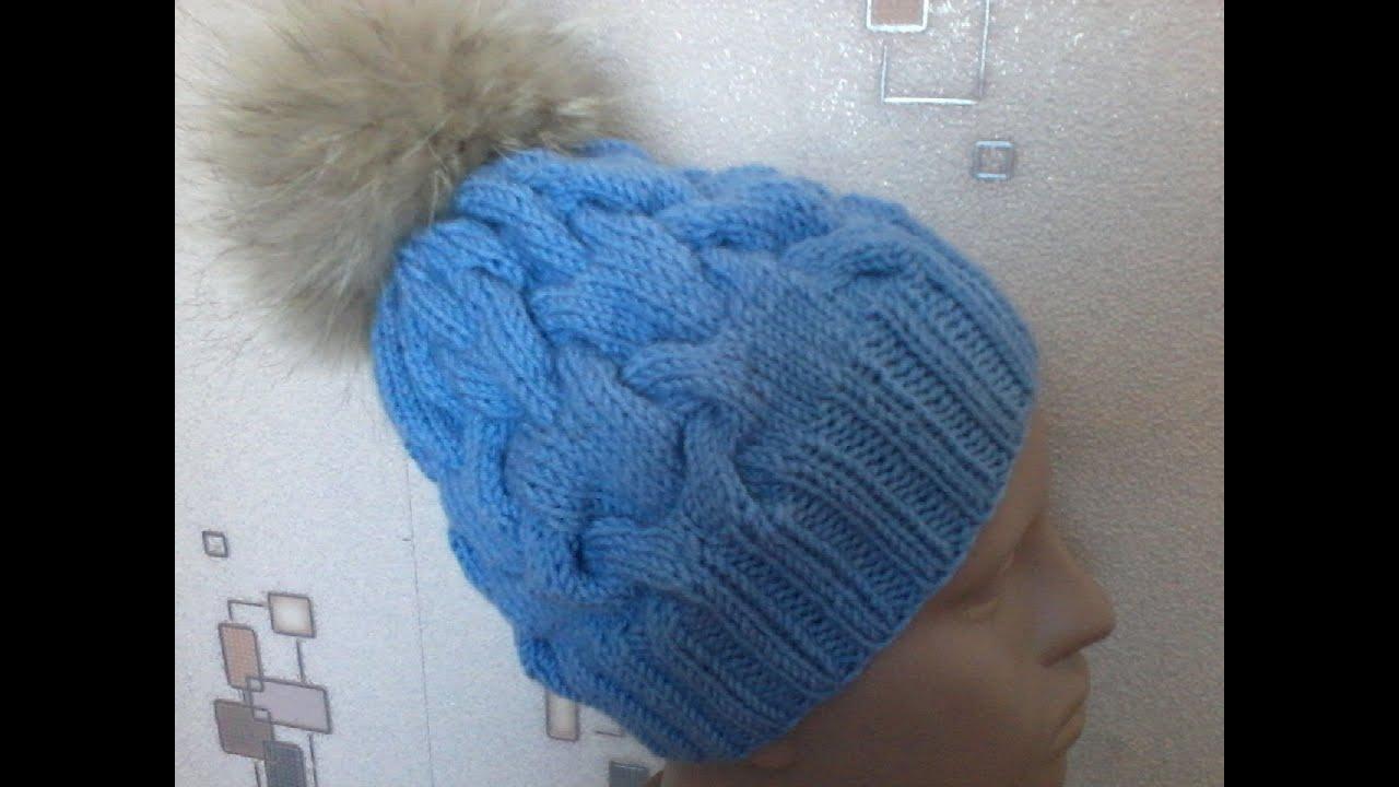 Шапочка объемными косами burberry вязание на спицах 8 фотография
