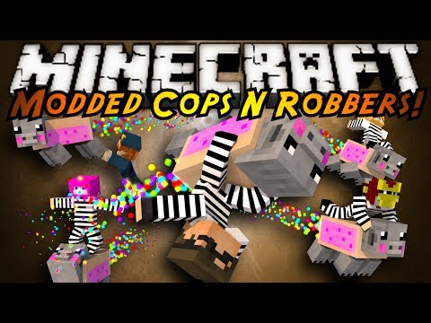 Minecraft Mini-Game : MODDED COPS N ROBBERS! TRAIL MIX!