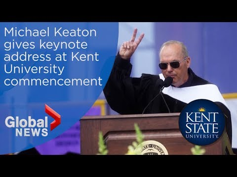 Michael Keaton admits 'I'm Batman' during Kent State University commencement speech thumbnail