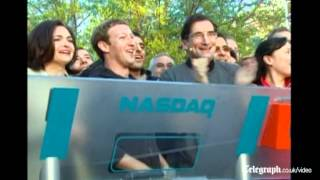 Mark Zuckerberg rings the NASDAQ bell before Facebook IPO
