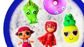 Learn Colors with Pj Masks in Bubble Pool - Toys For Kids - Learn Colors with Finger Family Children