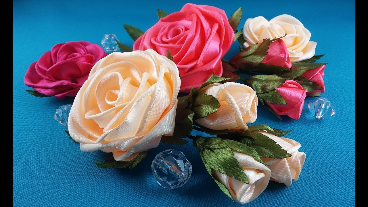Роза из цельной атласной ленты своими руками 130