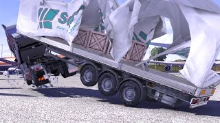 Trailer Tent Morphing Mod - ETS e - Truck Simulator - American Tractors Collision Simulation