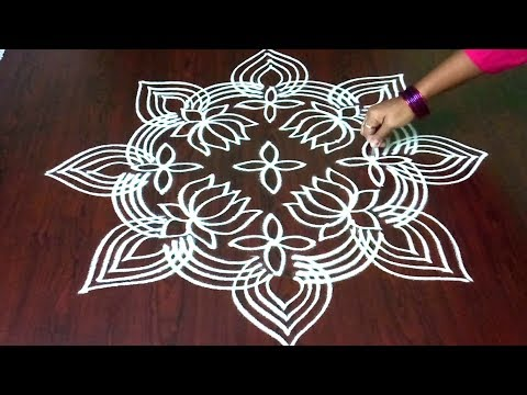 Easy & Simple Margazhi || Lotus Muggulu || Dots Kolam Design 9  x 1 || Rangoli & Fashion World