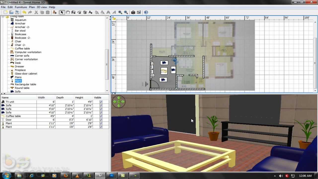 Build home and design interiors in 3d sweet home 3d for Tutorial for home design 3d