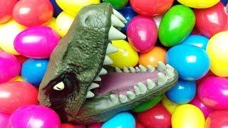 DINOSAURS Surprise Eggs Jurassic World !!! DAXIATITAN,LIOPLEURODON,TIRANOSAURUS REX..