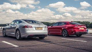 Tesla Model S vs Kia Stinger GT S | Drag Races | Top Gear