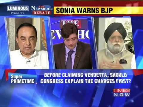 Dr Subramanian Swamy in Times Now debate   Political vindictiveness in National Herald case?