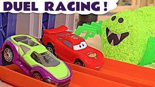 Halloween Spooky Duel Racing with Hot Wheels Superhero Cars and Disney Pixar McQueen
