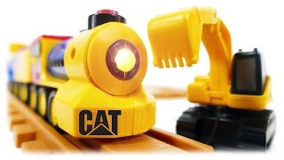 TRAINS FOR CHILDREN VIDEO: Preschool Express Train CAT with Excavator & Truck Toys Review