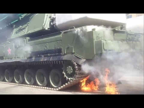 Victory day parade - Russian Buk Missile System on fire, burning | 9.May 2015