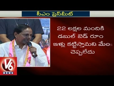 CM KCR Speaks On Double Bedroom Houses To Journalists Of Telangana | V6 News