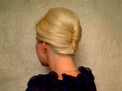 French twist hairstyle tutorial for short. medium long hair Prom wedding updo