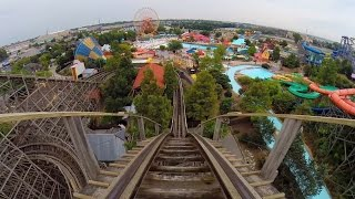 Thunder Run Wooden Roller Coaster POV Kentucky Kingdom Louisville