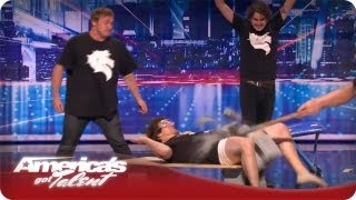 The Nut Mutilation Guy - Nick Cannon Kicks A Contestent In The Nuts - AGT Season 7 Horse Audition