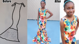 Download 10 year old DESIGNER makes a GOWN 3Gp Mp4