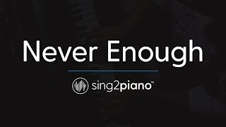 Never Enough (Piano karaoke) The Greatest Showman