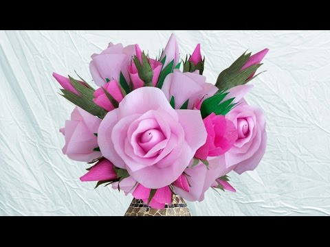 Learn Home Decoration Idea With DIY Crepe Paper Roses : How To Make Paper Rose Bouquet ?