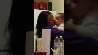 Baby gets mom jealous on purpose w/auntie!