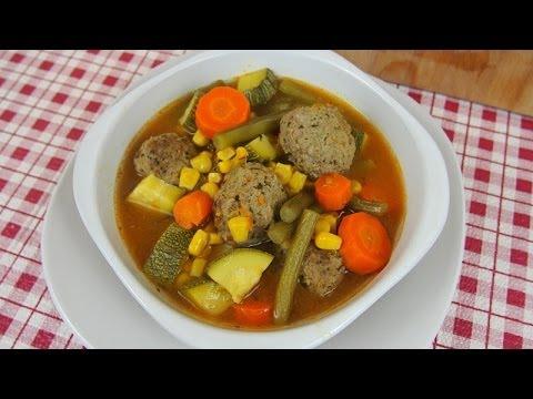 Sopa de alb ndigas con vegetales deliciosa youtube - Albondigas con verduras ...