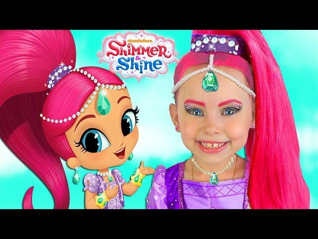Shimmer and Shine Kids Makeup  Dresses  Surprise Toys For Kids Pretend Playing with Toys and Doll