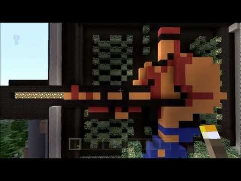 Minecraft Contra pixel art with piston animated LASER (SORRY!) rifle
