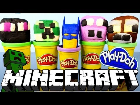 Play Doh Minecraft Surprise Toys Eggs and Batman Superhero - Play-Doh Planet Minecraft Videos