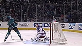 San Jose Sharks Tomas Hertl shoots between his legs and scores