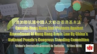 港加聯抗議中國人大修改香港基本法Canada-Hong Kong Link protests against amendment of HK Basic Law by China