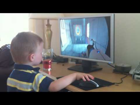 3 year old plays Mirror s Edge, Portal