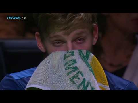 David Goffin gets hit in the eye by ball | Rotterdam 2018 Semi-Final