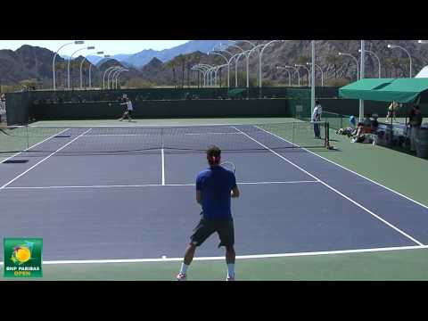 Rafael Nadal vs Tommy Robredo -- Practice Point Play -- Indian Wells Pt. 01 Video