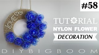 Nylon stocking flowers tutorial #58, How to make nylon stocking flower step by step