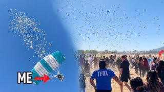 Throwing $10,000 Out Of AIRPLANE!!