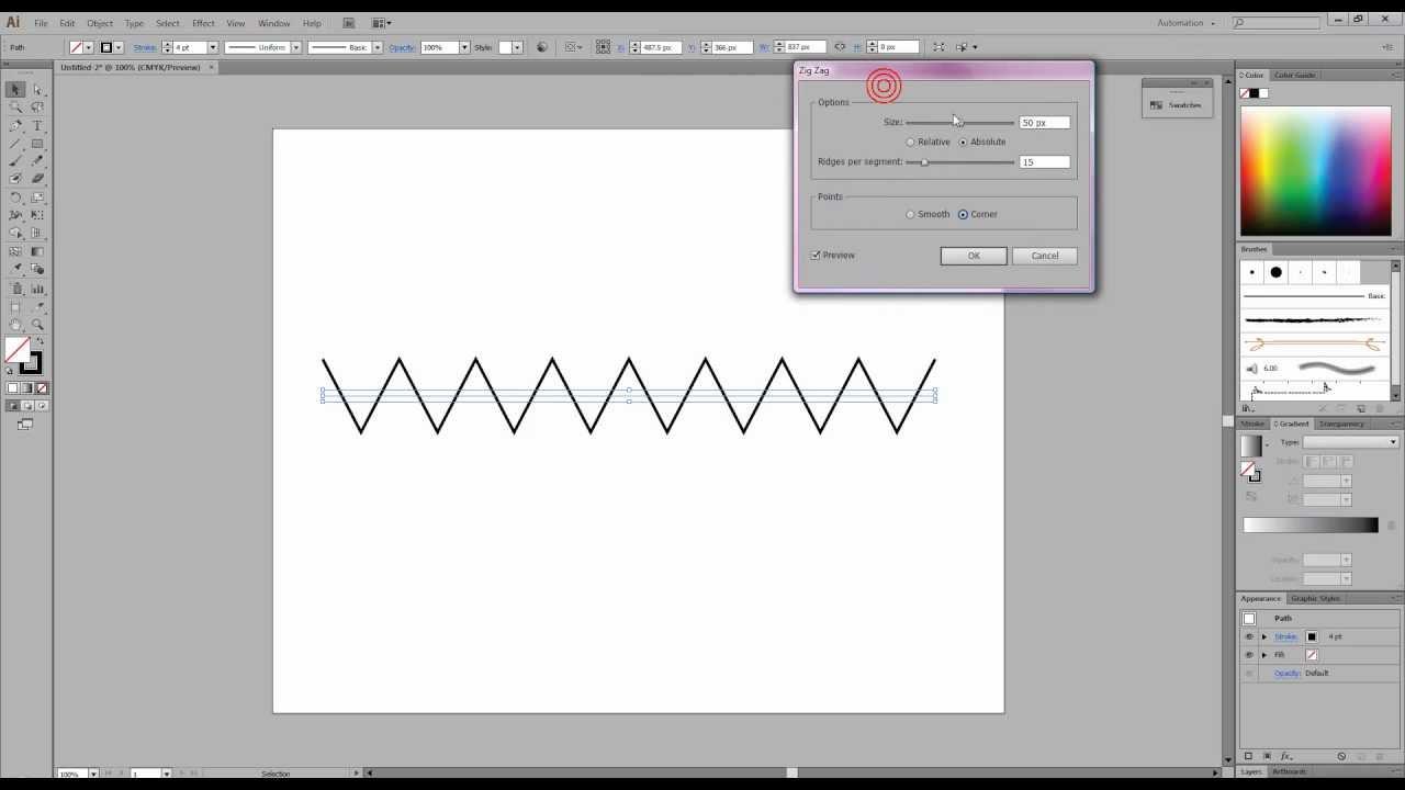 how to make zig zag in photoshop