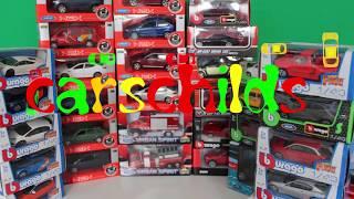 Welly Bburago diecast models Mercedes Jaguar Maserati Video for kids  Модели машинок Видео для детей