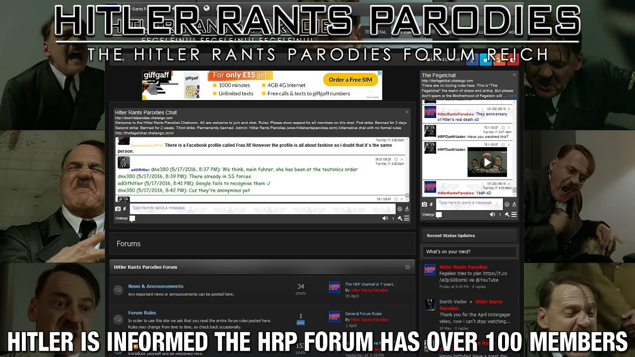 Hitler is informed the HRP Forum has over 100 members
