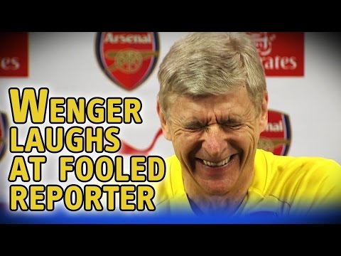 Arsene Wenger laughs at reporter tricked by fake article